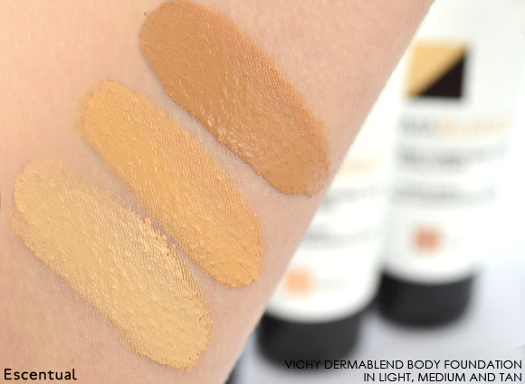 Vichy Dermablend Body Foundation In Light Medium and Tan Swatched