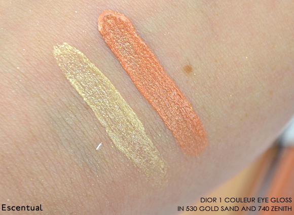 1 Couleur Eye Gloss in 530 Gold Sand and 740 Zenith Swatches