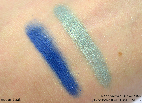 Dior Mono Eyeshadow in 273 Parati and 351 Feather Swatches