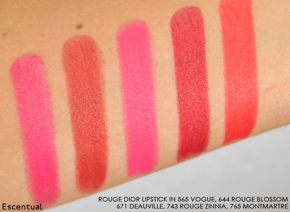 Rouge Dior Lipstick 565 644 671 743 765 Swatched