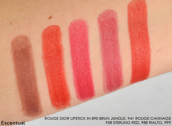 Rouge Dior Lipstick 890 941 958 988 999 Swatched