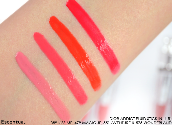 Dior Addict Fluid Stick - 389 Kiss Me - 479 Magique - 551 Aventure - 575 Wonderland