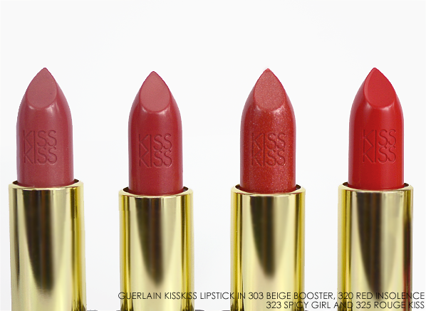 Guerlain KissKiss Lipstick in 303 Beige Booster 320 Red Insolence 323 Spicy Girl 325 Rouge Kiss