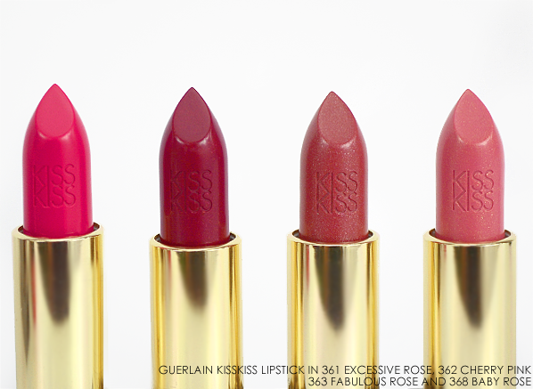 Guerlain KissKiss Lipstick in 361 Excessive Rose 362 Cherry Rose 363 Fabulous Rose 368 Baby Rose
