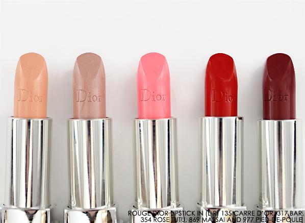 Rouge Dior Lipstick Fall 2014 - 135 Carre d'Or - 317 bar - 354 rose tutu - 869 massai - 977 pied-de-poule