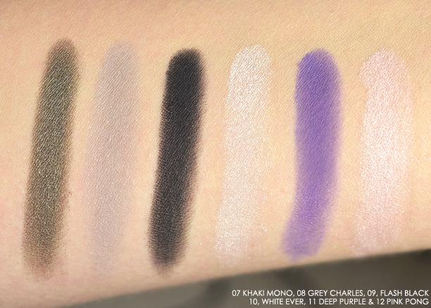 Guerlain Ecrin 1 Couleur in 07 Khaki Mono, 08 Grey Charles, 09 Flash Black, 10 White Ever, 11 Deep Purple & 12 Pink Pong