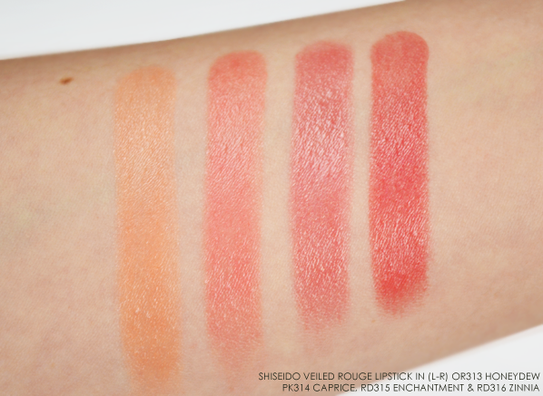Shiseido Veiled Rouge Lipstick Autumn 2015 Swatches