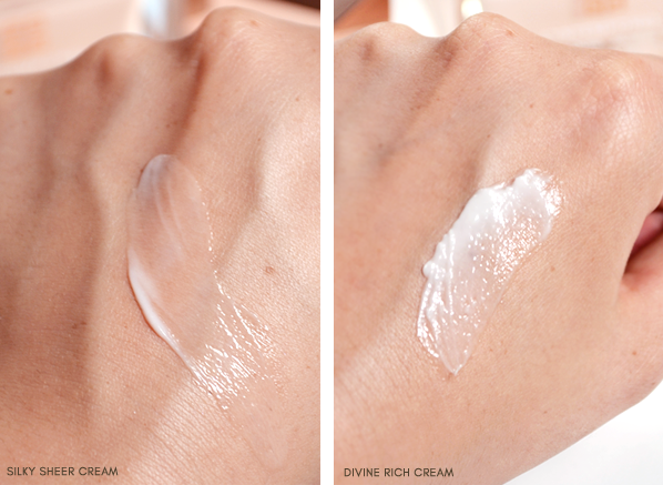 Givenchy L'Intemporel Global Youth Divine Rich Cream and Global Youth Silky Sheer Cream Swatch
