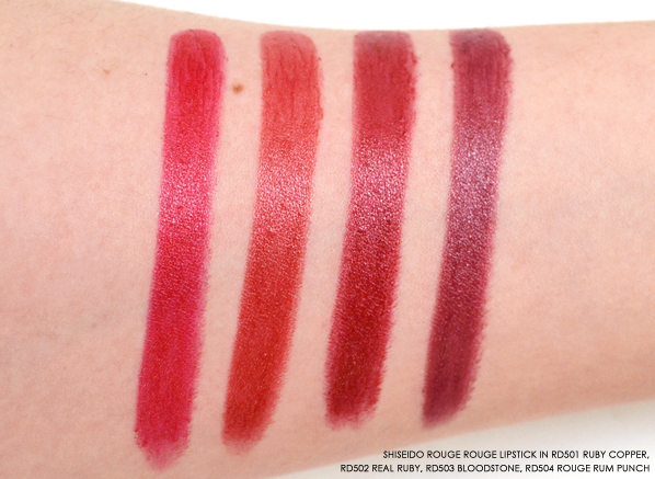 Shiseido Rouge Rouge RD501 Ruby Copper - RD502 Real Ruby - RD503 Bloodstone - RD504 Rouge Rum Punch