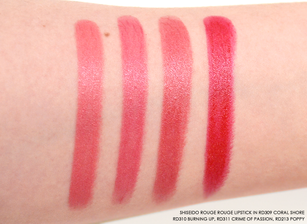 Shiseido Rouge Rouge in RD309 Coral Shore - RD310 Burning Up - RD311 Crime of Passion - RD213 Poppy