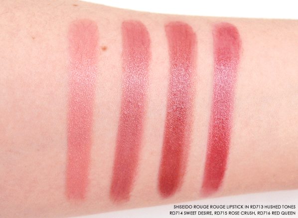 Shiseido Rouge Rouge in RD713 Hushed Tones - RD714 Sweet Desire - RD715 Rose Crush - RD716 Red Queen