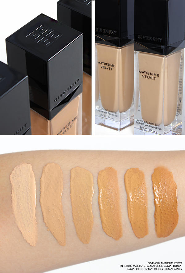Givenchy Matissime Velvet Foundation Swatches