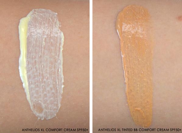 La Roche-Posay Anthelios XL Comfort CreamXL SPF 50+, Anthelios SPF30 Melt-in Cream and an Anthelios XL Tinted BB Comfort Cream SPF50+ Texture