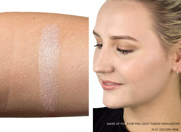 MAKE UP FOR EVER Pro Light Fusion - Undetectable Luminizer Swatched On Skin and Arm in 01 Golden Pink