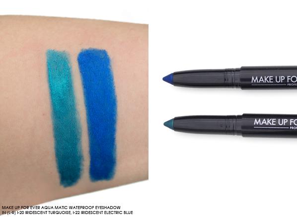 MAKE UP FOR EVER Aqua Matic Waterproof Eyeshadow I-20 Iridescent Turquoise, I-22 Iridescent Electric Blue