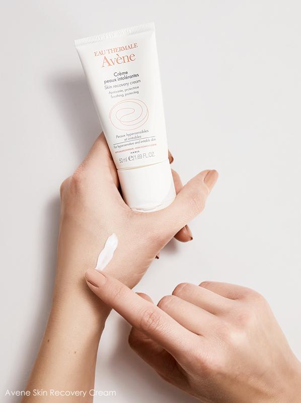 Tube of Avene Skin Recovery Cream Moisturiser held in hands