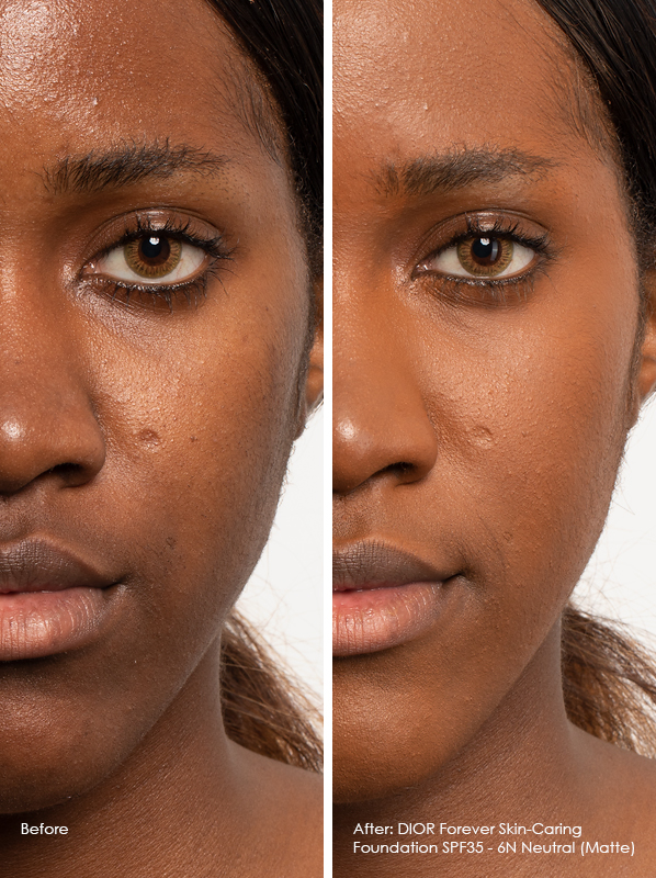 Before And After DIOR Forever Skin-Caring Foundation SPF35 - Matte Model Wears 6N Neutral