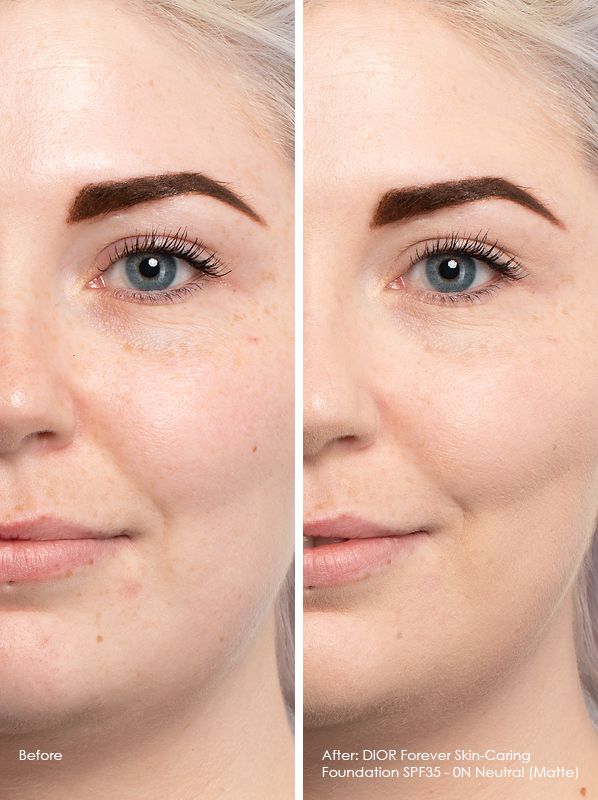 Before and After DIOR Forever Skin-Caring Foundation SPF35 Matte Model Wears 0N Neutral