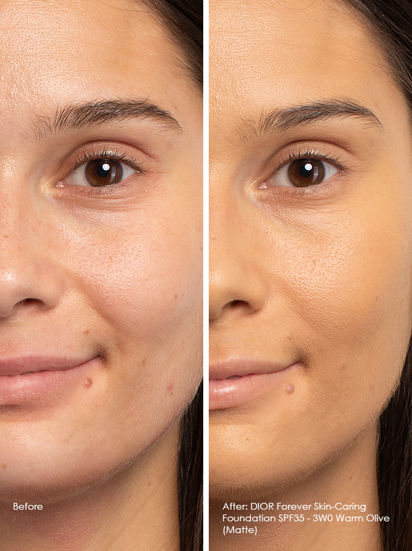 Before and After DIOR Forever Skin-Caring Foundation SPF35 - Matte Model Wears 3WO Warm Olive