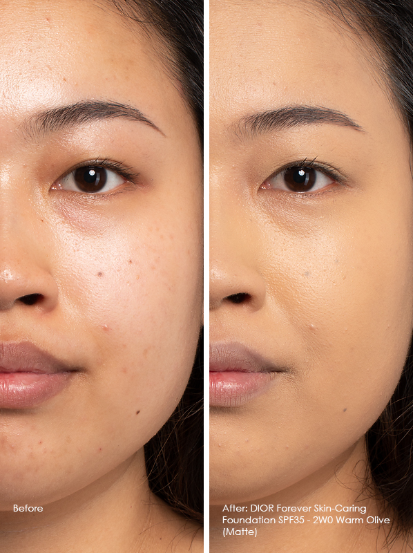 Before and After DIOR Forever Skin-Caring Foundation SPF35 Matte Model Wears Shade 2WO Warm Olive