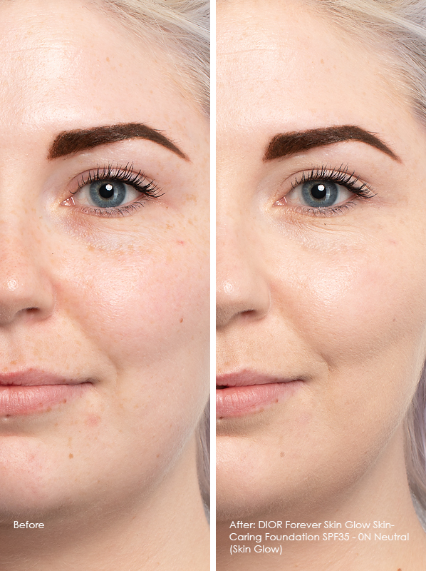 Before and After DIOR Forever Skin Glow Skin-Caring Foundation SPF35 Model Wears 0N Neutral