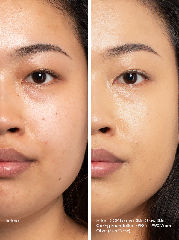 Before and After DIOR Forever Skin Glow Skin-Caring Foundation SPF35 Model Wears 2WO Warm Olive