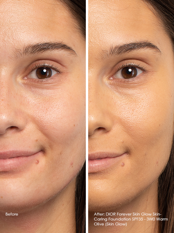 Before and After DIOR Forever Skin Glow Skin-Caring Foundation SPF35 Model Wears 3WO Warm Olive