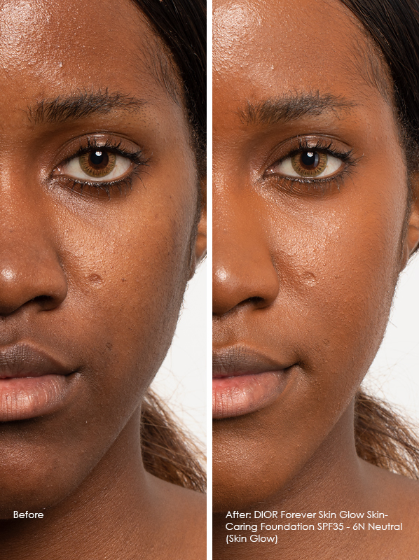 Before and After DIOR Forever Skin Glow Skin-Caring Foundation SPF35 Model Wears 6N Neutral