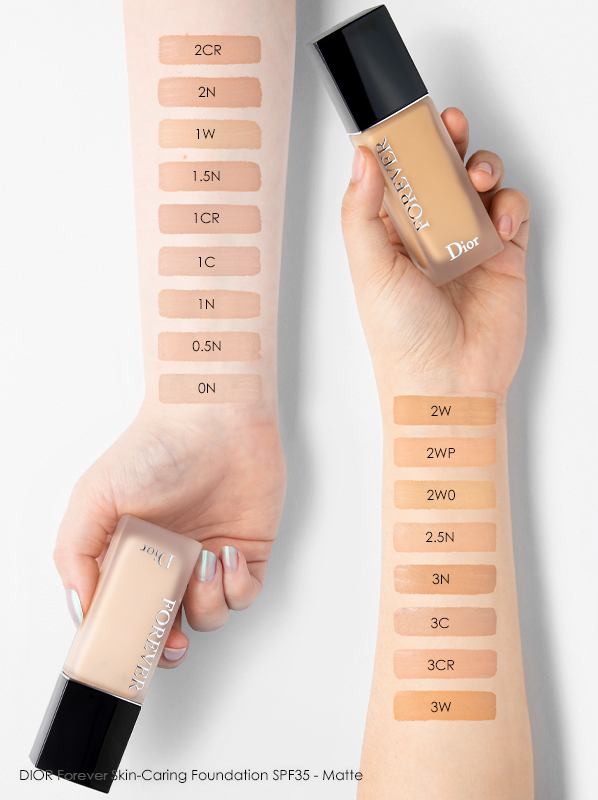 DIOR Forever Matte Foundation Swatches and Review