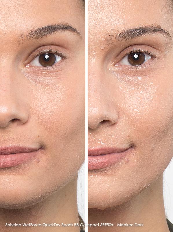 Best Waterproof Makeup: Shiseido WetForce Quick Dry Sports BB Compact SPF 50+ in Medium Dark