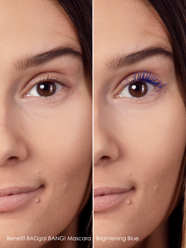 before and after using Benefit badgal bang blue mascara