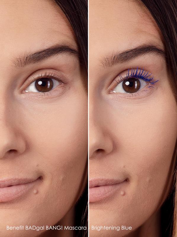 before and after using Benefit badgal bang blue mascara