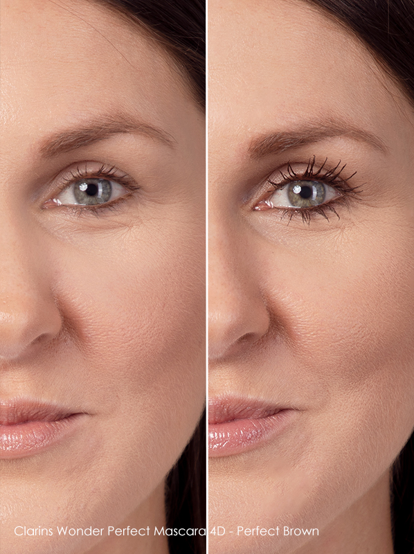 before and after using clarins wonder perfect brown mascara