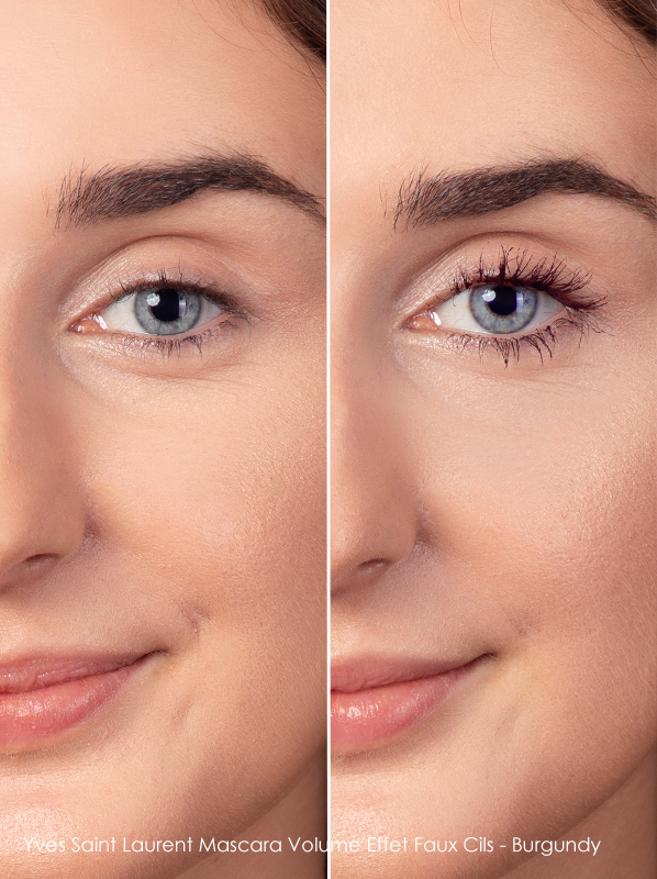 Before and after wearing Yves Saint Laurent Mascara Volume Effet Faux Cils in Burgundy