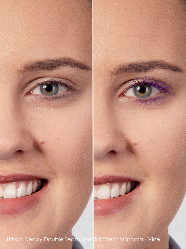before and after using Urban Decay Double Team Special Effect Coloured Mascara in vice