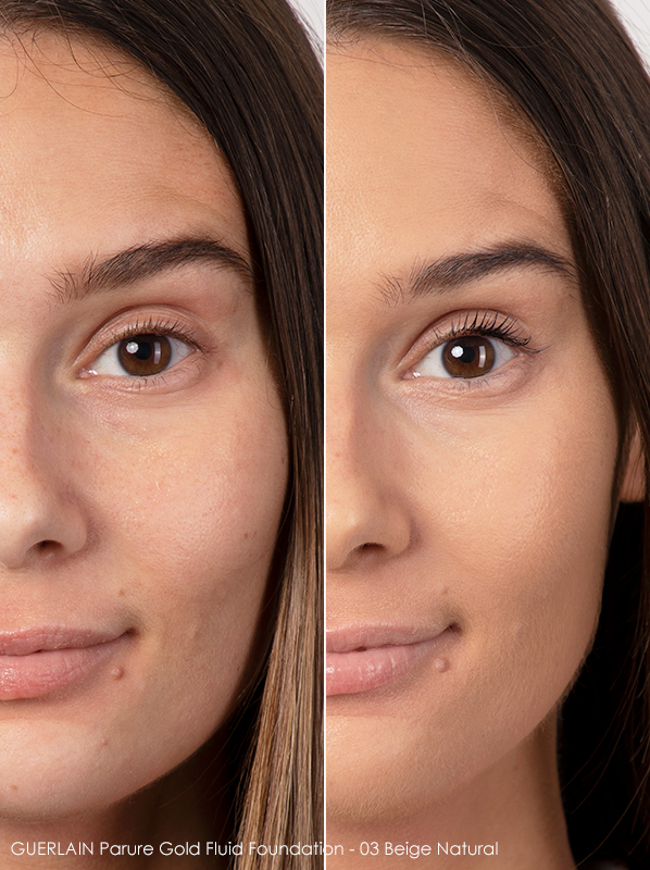 Before and After GUERLAIN Parure Gold Radiance Foundation SPF30