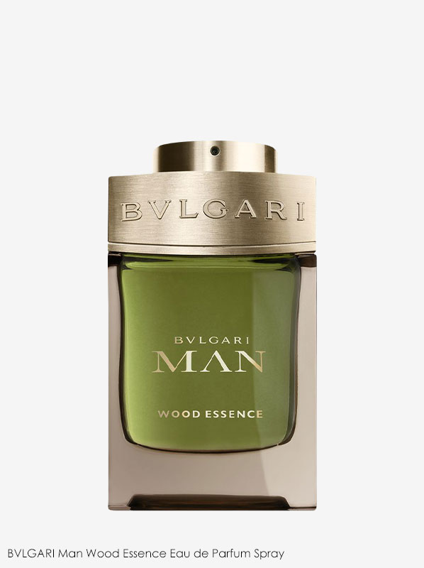 Bottle of BVLGARI Man Wood Essence fragrance on a plain white background