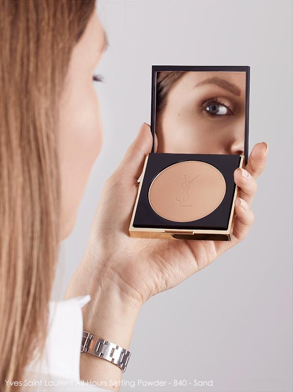 Image of model applying Yves Saint Laurent All Hours Setting Powder B40 Sand
