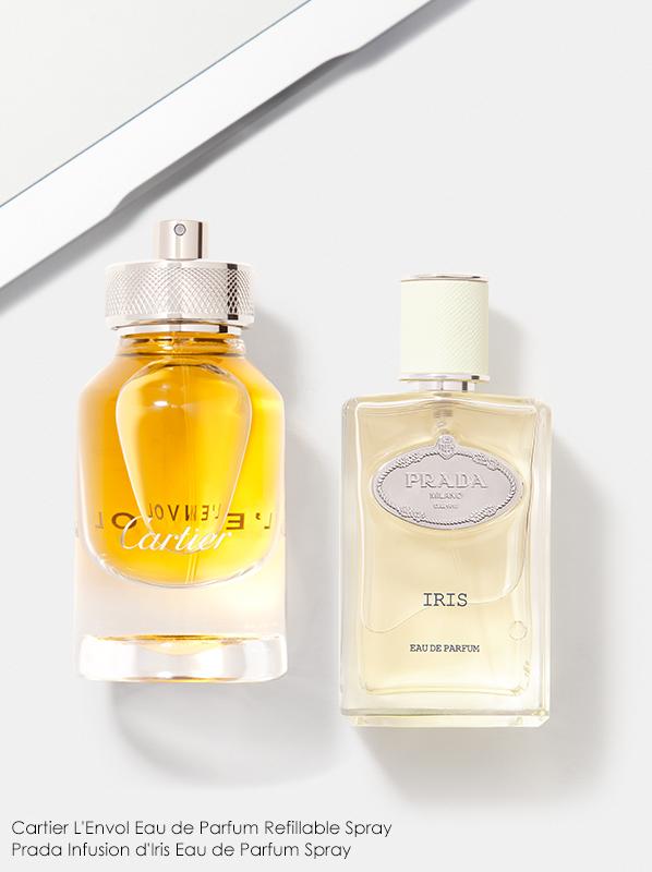 Image of Cartier L'Envol Eau de Parfum and Prada Infusion d'Iris Eau de Parfum fragrance bottles