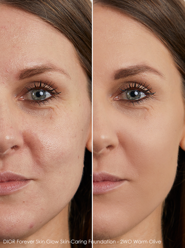 Model image of DIOR Forever Skin Glow Skin-Caring Foundation shade - 2WO Warm Olive swatched on skin