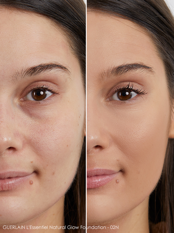 Model image of GUERLAIN L'Essentiel Natural Glow Foundation shade - 02N swatched on skin