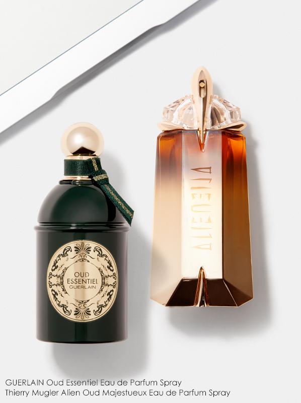 Image of Guerlain Oud Essentiel and Mugler Oud Majesteux fragrance bottle