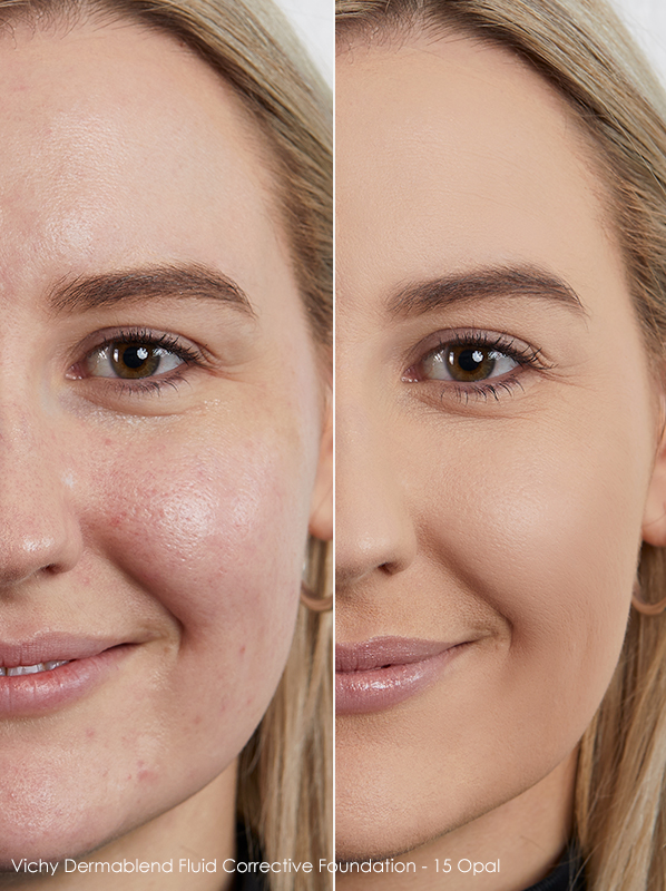 Model image of Vichy Dermablend Fluid Corrective Foundation shade - 15 Opal swatched on skin
