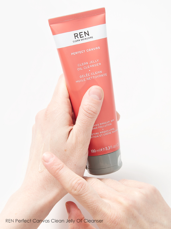 Image of REN Perfect Canvas Clean Jelly Oil Cleanser held in hands with texture shown