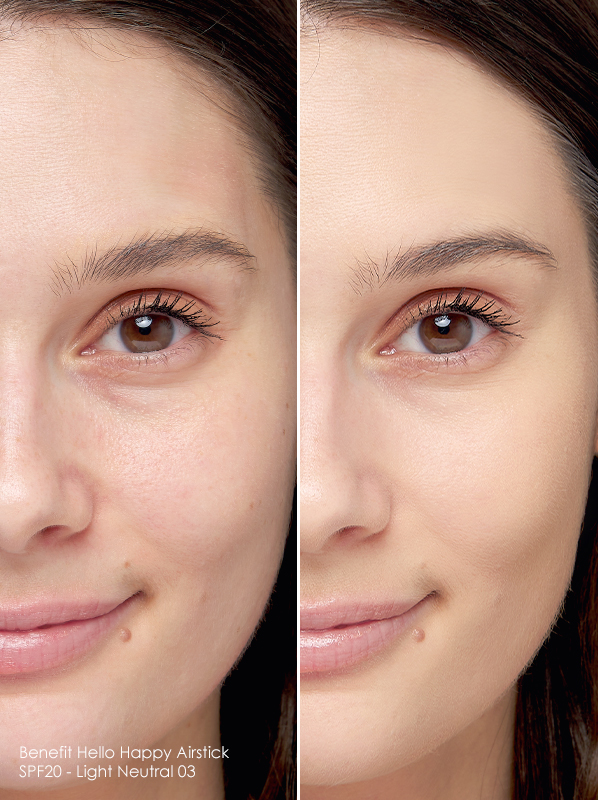 Before and after image of Benefit Hello Happy Airstick SPF20 in Neutral 03