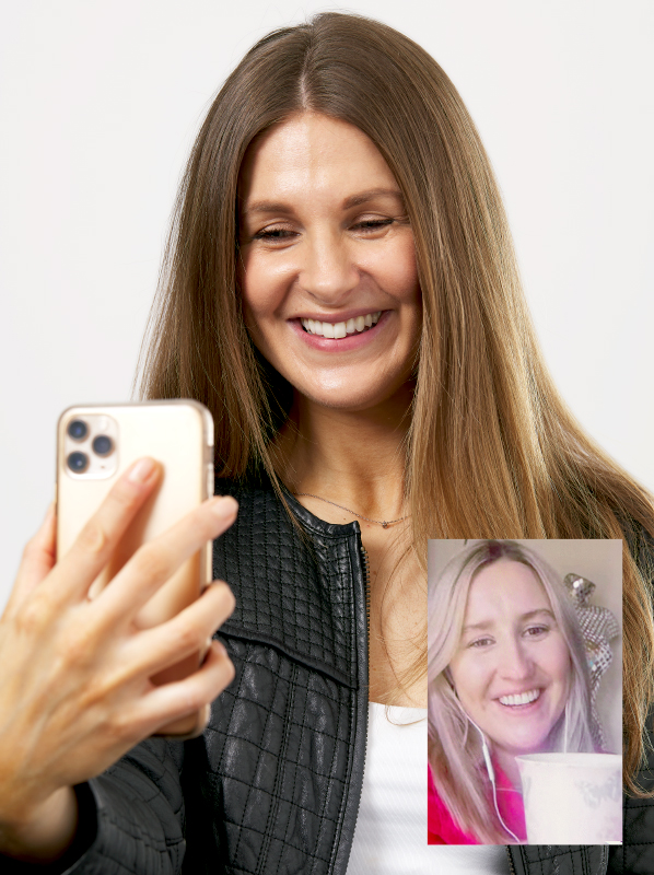 Image of model using iphone to facetime a friend