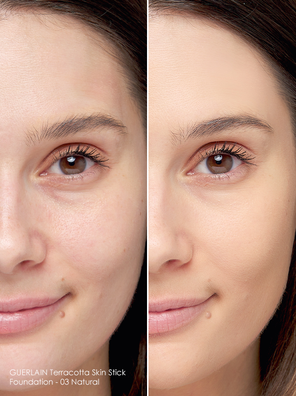 Before and after image of Guerlain Terracotta Skin Stick Foundation - 03 Natural