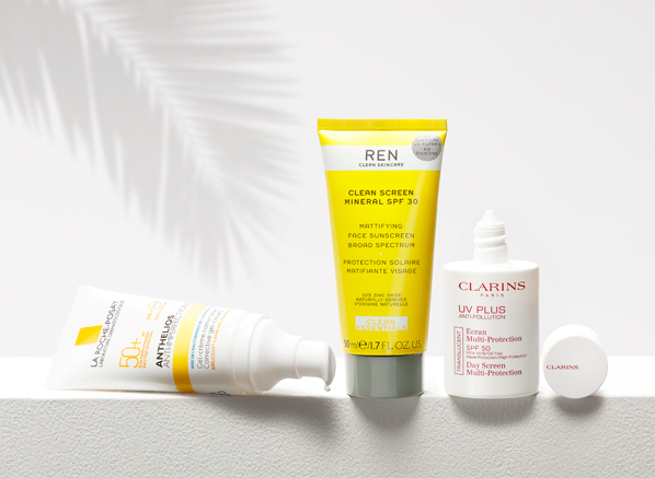 Image of Antioxidant SPFs, Clarins UV Plus HP Multi-Protection Day Screen SPF50, La Roche-Posay Anthelios Anti-Imperfections Corrective Gel-Cream SPF50+, REN Clean Screen Mineral Sunscreen SPF30