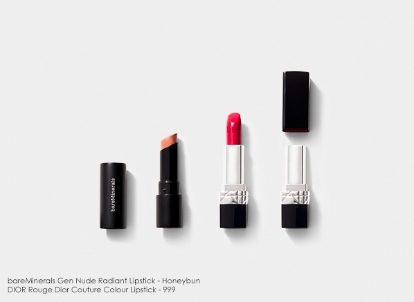 Makeup Capsule Wardrobe for Lips: bareMinerals Gen Nude Lipstick Honeybun, Dior Rouge Dior Couture Lipstick 999