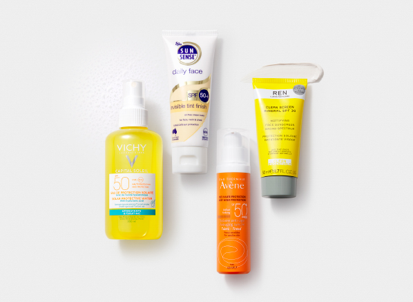 10 of the Most Common SPF Myths Debunked: Flat lay image of Vichy Capital Soleil Solar Protective Water Hydrating SPF50, SunSense Daily Face Invisible Tint Finish SPF50+, Avene Anti-ageing Suncare Very High Protection Tinted SPF50+, REN Clean Screen Mineral Sunscreen SPF30